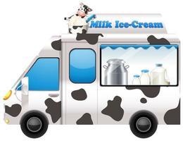 Food truck selling milk ice-cream vector