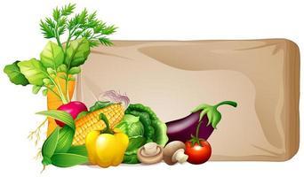 diseño de marco con verduras frescas. vector