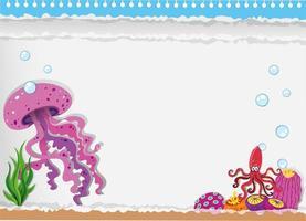 desenho de papel com água-viva debaixo d'água vetor