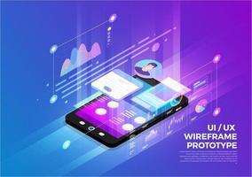 UX UI wireframe prototype vector