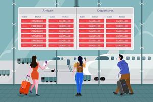 aeropuerto prohíbe pasajeros vector