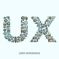 ux word con iconos de tecnología vector
