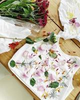 White and pink floral textile