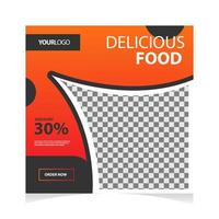 Food offer social media banner in orange and gray vector
