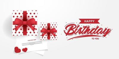 Happy birthday gift box and note card banner vector