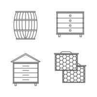 Honey storage thin line icon set