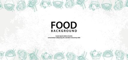 Hand drawn food borders on white texture