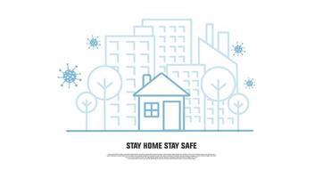 quédate en casa quédate a salvo evita el coronavirus line art banner vector