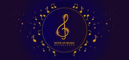 Golden music notes in and around circle frame vector