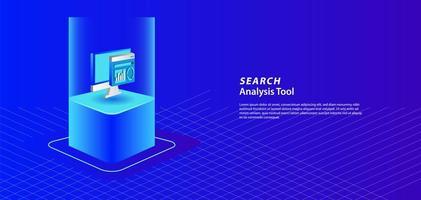 banner isométrico de análisis de búsqueda y página de destino