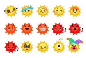 Collection of different emoticons of cute sun cartoon