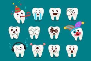 set van schattige tand emoji en emoticons expressies