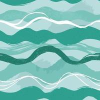 Hand drawn green waves seamless pattern