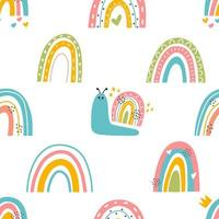 Cute snails with rainbows seamless pattern vector