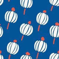 Seamless bright blue scandinavian floral pattern vector