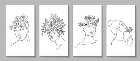Set of linear woman portraits for posters or stories