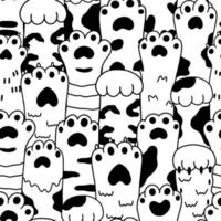 Cute cartoon black and white paw sketch seamless pattern vector