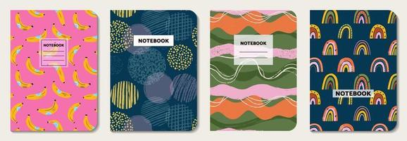 Covers with fruit, line, circle, rainbow doodle pattern vector