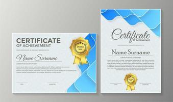 certificado de membresía premio conjunto de diploma vector