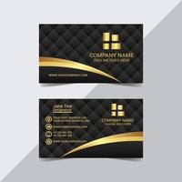 Golden Shape on Black Business Card Template