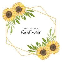 Sunflower watercolor frame decoration vector