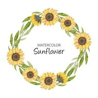 Hand painted watercolor sunflower wreath circle border vector