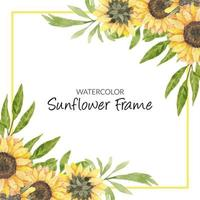 Hand painted watercolor sunflower floral frame vector