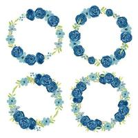 Watercolor navy flower wreath circle frame set vector