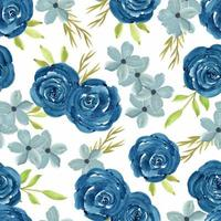 Watercolor floral seamless pattern with navy roses vector
