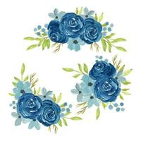 Watercolor hand painted navy rose flower bouquet vector