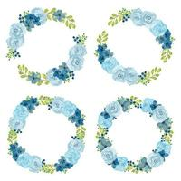 Watercolor blue rose floral wreath set vector
