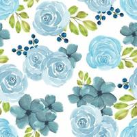 Seamless pattern with watercolor blue rose floral vector