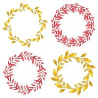 Watercolor autumn wreath pack circle leaf border vector