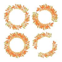 Hand painted watercolor orange leaf circle border set