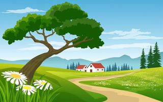 Beautiful Landscape Countryside with Farm  vector