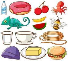 grande conjunto de diferentes alimentos e outros itens em branco