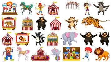 Huge Circus Set with Animals, People, Clowns, Rides vector