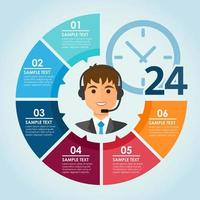 Male call center infographic vector