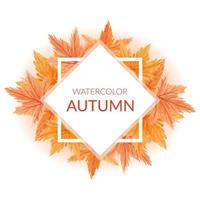 Hand painted watercolor autumn border with maple leaves vector