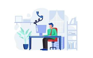 Customer support worker at home concept  vector