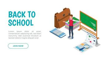 Back to school landing page with teacher at board  vector