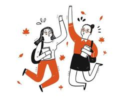 Two student girls doing a hi-five vector