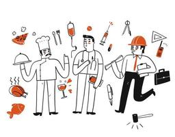 A group of workers with icons vector