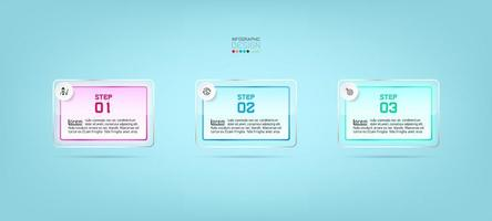 Glass rectangles, 3-step infographic template design vector