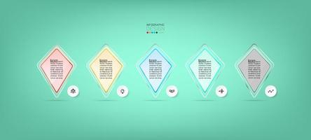 Modern glass shapes infographic template design