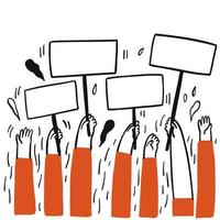 Hands up and holding blank signs vector
