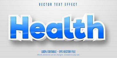 efecto de texto editable de estilo de dibujos animados de salud azul y blanco