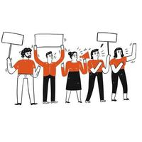 Group of people protesting and holding blank signs vector
