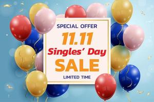 Singles' Day Sale Banner with Balloons
