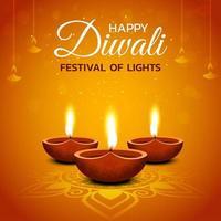 Happy Diwali Design with Lit Oil Lamps on Orange vector